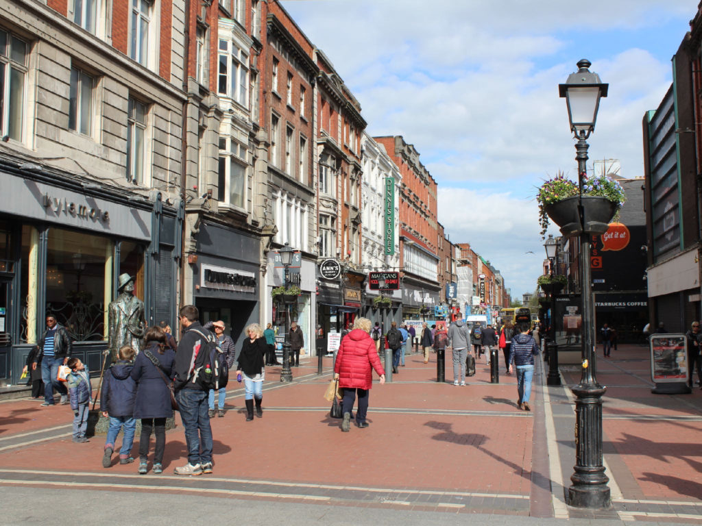 Dublin was full of people exploring pedestrian-only streets and shopping districts